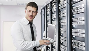 Tech guy in server bay